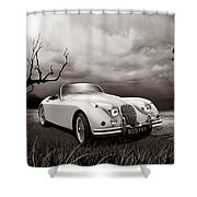 Jaguar Xk150 - Admiring The View Shower Curtain