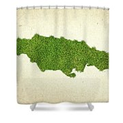 Jamaica Grass Map Shower Curtain by Aged Pixel