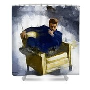 James Dean In Yellow Leather Chair Shower Curtain