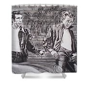 James Dean Meets The Fonz Shower Curtain by Sean Connolly