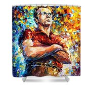 James Dean - Palette Knife Oil Painting On Canvas By Leonid Afremov Shower Curtain