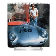 James Dean With His Spyder Shower Curtain