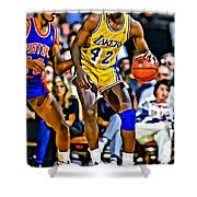 James Worthy Shower Curtain by Florian Rodarte