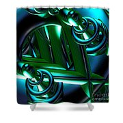 Jammer Blue Green Flux 001 Shower Curtain