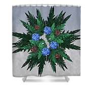 Jammer Blue Red Snow Wreath Shower Curtain