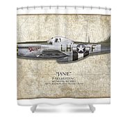 Janie P-51d Mustang - Map Background Shower Curtain