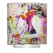 Janis Joplin Portrait Shower Curtain by Aged Pixel