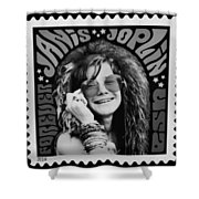 Janis Stamp In A Black And White Vibe Shower Curtain