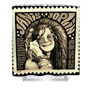 Janis Stamp In A Sepia Vibe Shower Curtain
