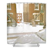 January Winter Street Winding Snow Covered Staircase Montreal Art Verdun Duplex Painting Cspandau Shower Curtain