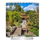 Japan In Pasadena - Beautiful View Of The Newly Renovated Japanese Garden In The Huntington Library. Shower Curtain