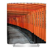 Japan, Red Columns Along Pathway Kyoto Shower Curtain