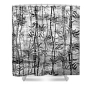 Japanese Bamboo Grunge Black And White Shower Curtain