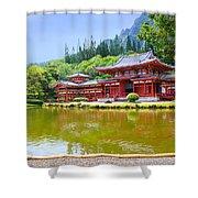 Japanese Byodoin Temple Shower Curtain