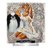 Japanese Chin Art - Una Parisienne Movie Poster Shower Curtain by Sandra Sij
