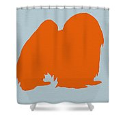 Japanese Chin Orange Shower Curtain by Naxart Studio