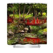 Japanese Garden - Meditation Shower Curtain by Mike Savad