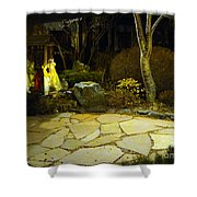 Japanese Garden Simple Shrine Lit At Night 01 Shower Curtain