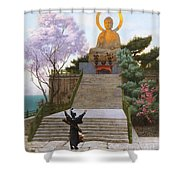 Japanese Imploring A Divinity Shower Curtain