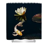 Japanese Koi Fish And Water Lily Flower Shower Curtain
