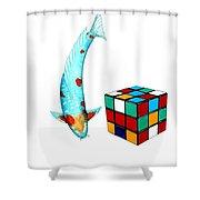 Japanese Koi Ochiba Cubism Painting Shower Curtain