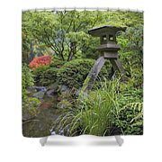Japanese Stone Lantern By Water Stream Shower Curtain