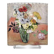 Japanese Vase With Roses And Anemones Shower Curtain