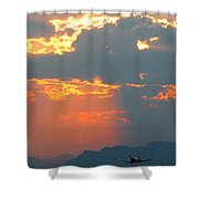 Japanese Zero Fighter Plane Taking Off At Sunset Shower Curtain