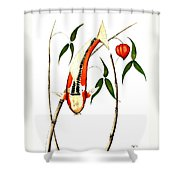 Japnese Koi Shuisui Chinese Lantern Painting Shower Curtain