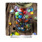 Jar Of Marbles With Shooter Shower Curtain by Garry Gay