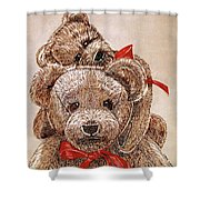 Jared's Bears Shower Curtain by Linda Simon