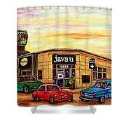 Java U Cafe Jean Talon Car Wash Coffee Shop Depanneur Montreal Art Sale Cspandau                     Shower Curtain