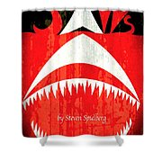 Jaws Minimalist Poster  Shower Curtain
