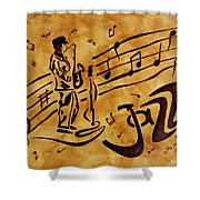 Jazz Coffee Painting Shower Curtain