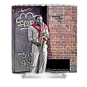 Jazz Man - Street Performer Shower Curtain