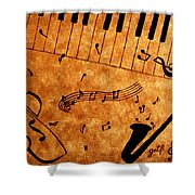 Jazz Music Coffee Painting Shower Curtain