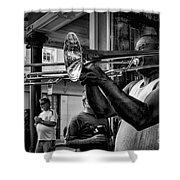 Jazzy Trombone Music-bw Shower Curtain