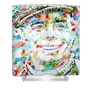 Jean Renoir Watercolor Portrait Shower Curtain