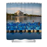Jefferson Memorial And Paddle Boats Shower Curtain
