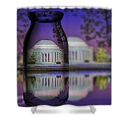 Jefferson Memorial In A Bottle Shower Curtain by Susan Candelario