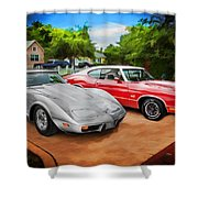 Jeffs Cars Corvette And 442 Olds Shower Curtain