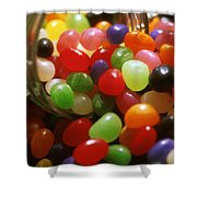 Jelly Beans Spilling Out Of Glass Jar Shower Curtain