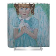 Jenny Little Angel Of Peace And Joy Shower Curtain