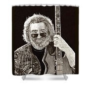 Jerry Garcia String Beard Guitar Shower Curtain