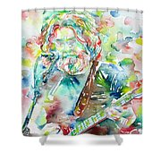 Jerry Garcia Playing The Guitar Watercolor Portrait.2 Shower Curtain