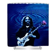 Blue Ripple Rose Shower Curtain