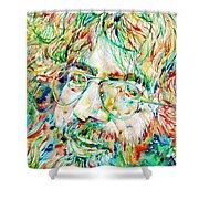 Jerry Garcia Watercolor Portrait.1 Shower Curtain by Fabrizio Cassetta