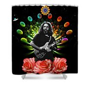 Jerry Spacepods Ufo Roses Under Cosmic Sun Shower Curtain
