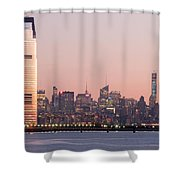 Jersey City And New York City  With Manhattan Skyline Over Hudso Shower Curtain