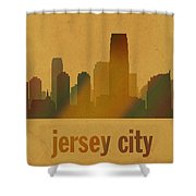 Jersey City New Jersey City Skyline Watercolor On Parchment Shower Curtain